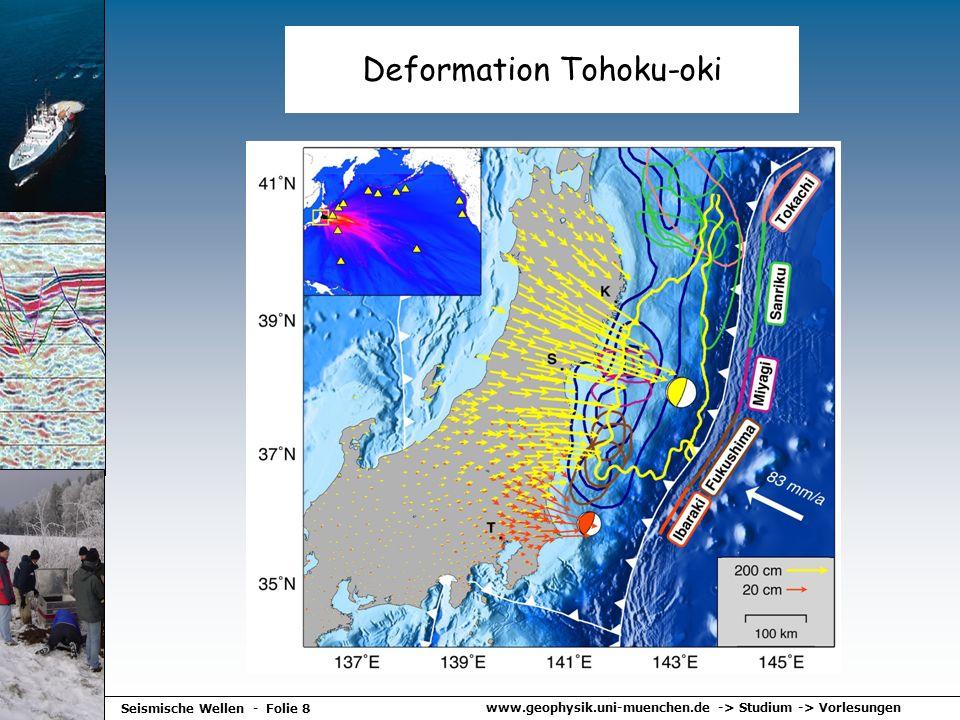 www.geophysik.uni-muenchen.de -> Studium -> Vorlesungen Seismische Wellen - Folie 8 Deformation Tohoku-oki