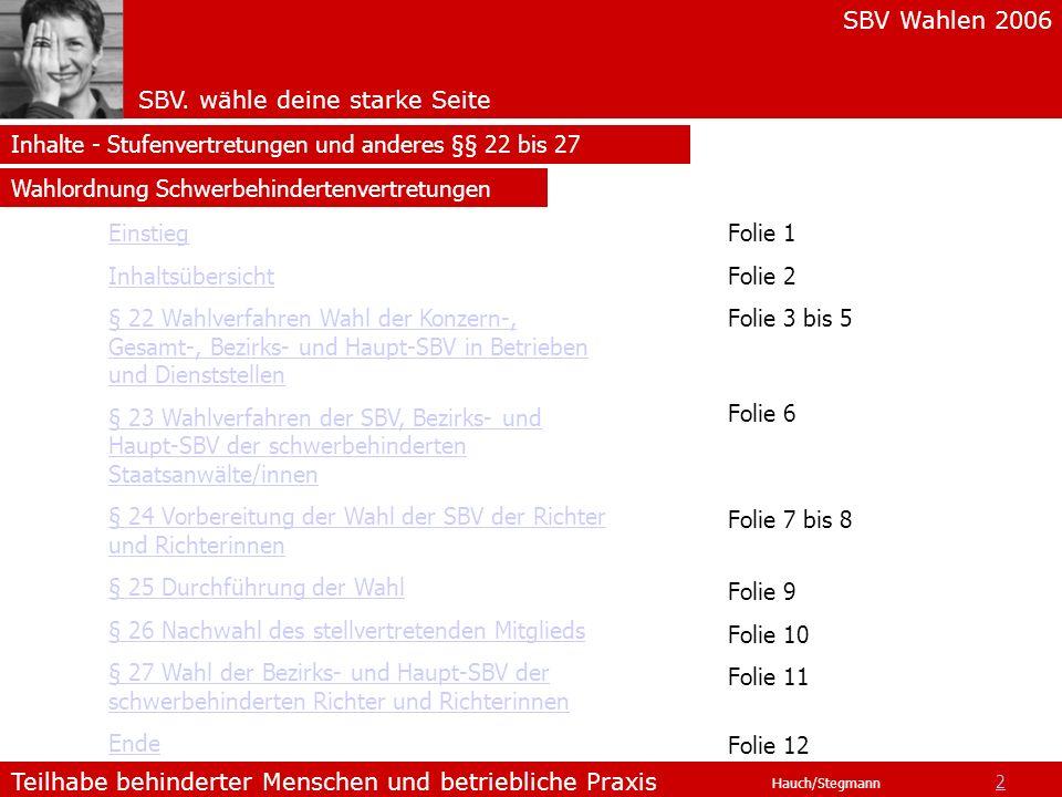 SBV Wahlen 2006 SBV. wähle deine starke Seite Teilhabe behinderter Menschen und betriebliche Praxis Hauch/Stegmann Inhalte - Stufenvertretungen und an