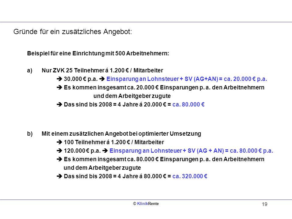 © KlinikRente 19 Innen links (Rückseite vom Deckblatt) Beispiel für eine Einrichtung mit 500 Arbeitnehmern: a)Nur ZVK 25 Teilnehmer á 1.200 / Mitarbei
