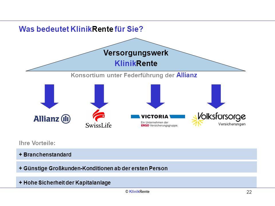 © KlinikRente 22 Was bedeutet KlinikRente für Sie? Ihre Vorteile: + Branchenstandard + Günstige Großkunden-Konditionen ab der ersten Person + Hohe Sic