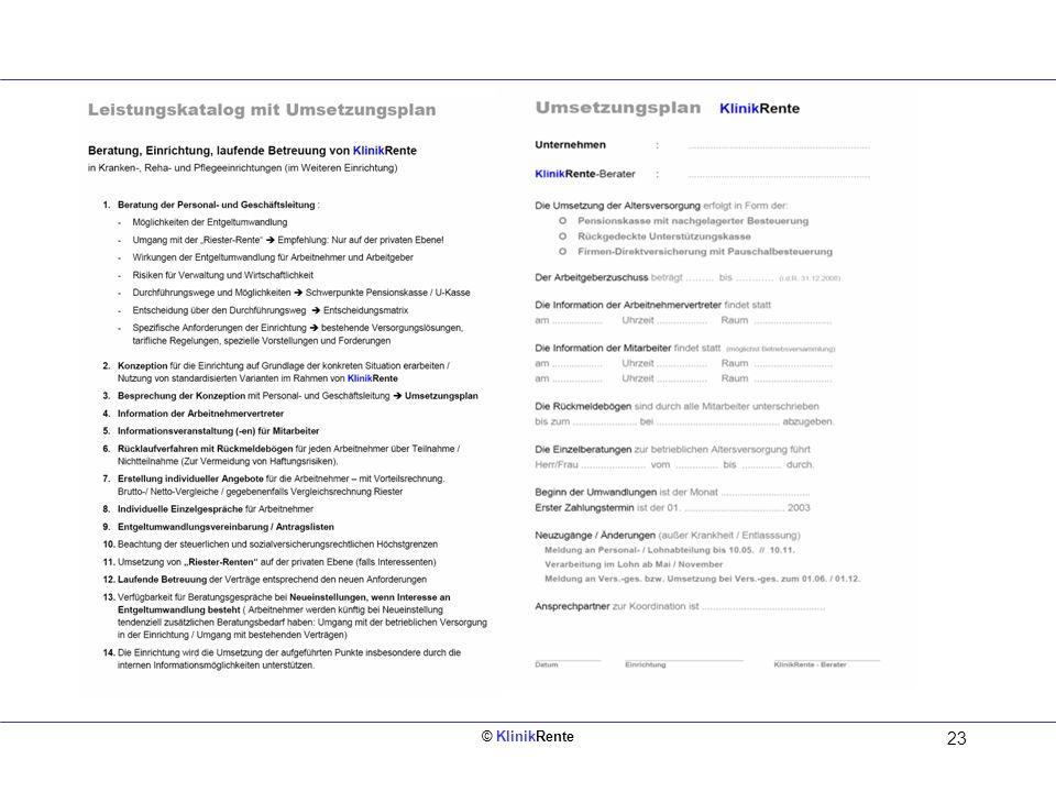 © KlinikRente 23 Leistungskatalog mit Umsetzungsplan entwickelt durch KlinikRente in Zusammenarbeit mit der Tarifkommission des Bundesverbandes Deutsc