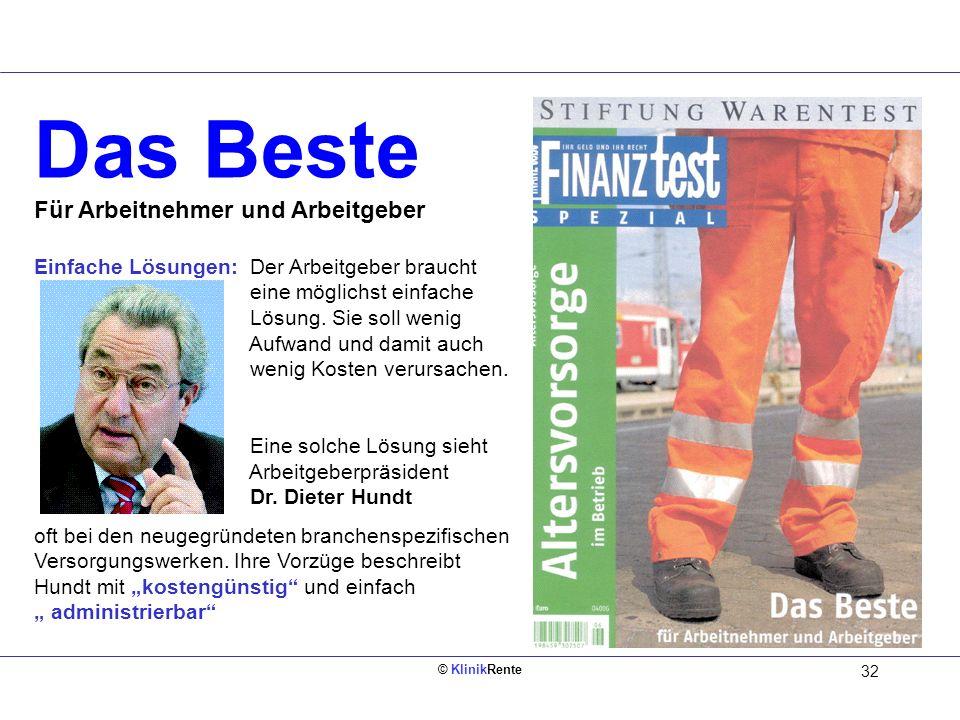 © KlinikRente 32 Das Beste Für Arbeitnehmer und Arbeitgeber Einfache Lösungen: Der Arbeitgeber braucht eine möglichst einfache Lösung. Sie soll wenig