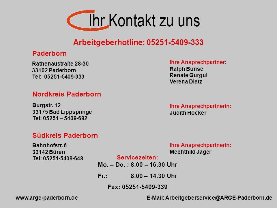 Servicezeiten: Mo. – Do. : 8.00 – 16.30 Uhr Fr.: 8.00 – 14.30 Uhr Fax: 05251-5409-339 Paderborn Rathenaustraße 28-30 33102 Paderborn Tel: 05251-5409-3