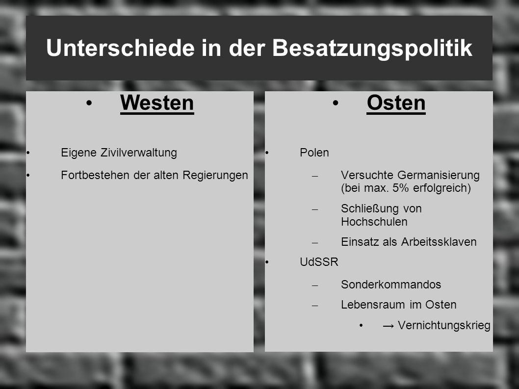 Unterschiede in der Besatzungspolitik Westen Eigene Zivilverwaltung Fortbestehen der alten Regierungen Osten Polen – Versuchte Germanisierung (bei max