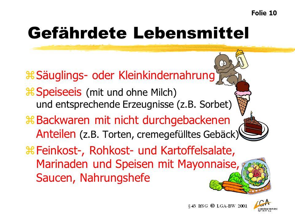 Gefährdete Lebensmittel zSäuglings- oder Kleinkindernahrung zSpeiseeis (mit und ohne Milch) und entsprechende Erzeugnisse (z.B.