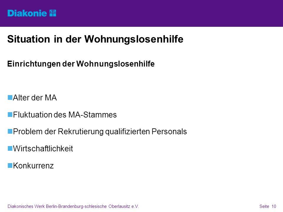 Diakonisches Werk Berlin-Brandenburg-schlesische Oberlausitz e.V.Seite 10 Situation in der Wohnungslosenhilfe Einrichtungen der Wohnungslosenhilfe Alt
