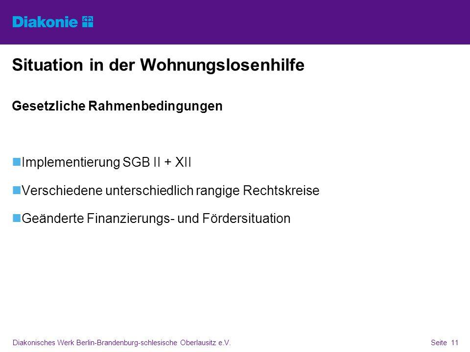 Diakonisches Werk Berlin-Brandenburg-schlesische Oberlausitz e.V.Seite 11 Situation in der Wohnungslosenhilfe Gesetzliche Rahmenbedingungen Implementi