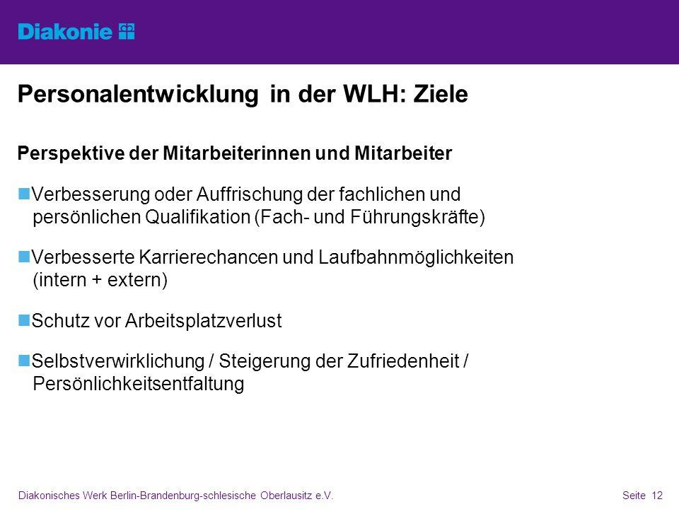 Diakonisches Werk Berlin-Brandenburg-schlesische Oberlausitz e.V.Seite 12 Personalentwicklung in der WLH: Ziele Perspektive der Mitarbeiterinnen und M