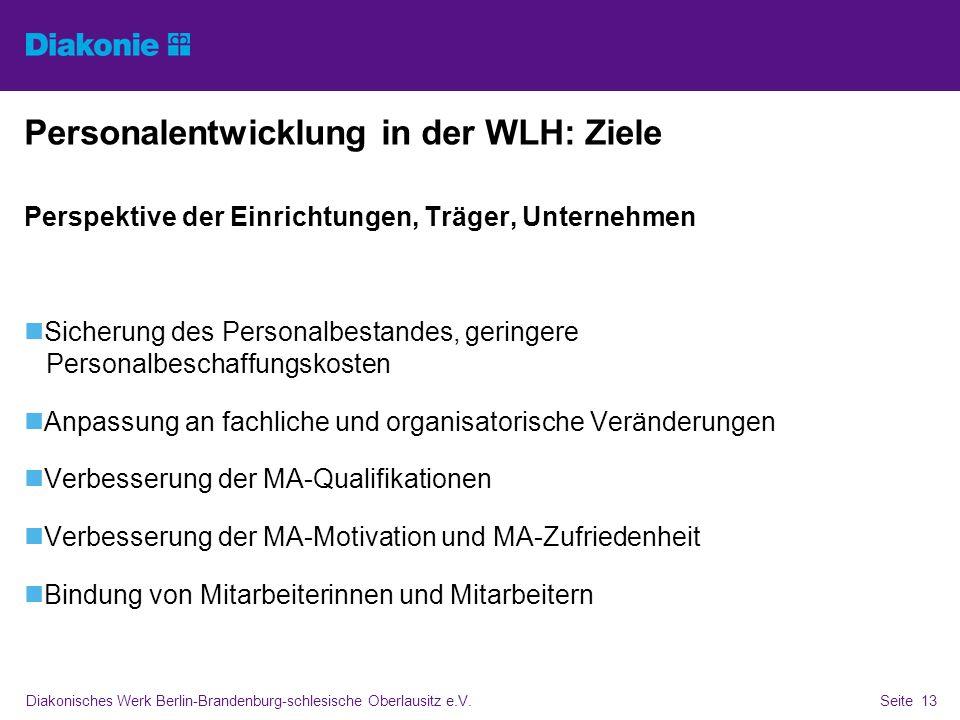 Diakonisches Werk Berlin-Brandenburg-schlesische Oberlausitz e.V.Seite 13 Personalentwicklung in der WLH: Ziele Perspektive der Einrichtungen, Träger,