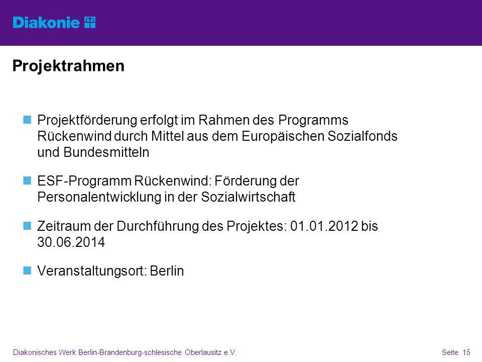Diakonisches Werk Berlin-Brandenburg-schlesische Oberlausitz e.V.Seite 15 Projektrahmen Projektförderung erfolgt im Rahmen des Programms Rückenwind du