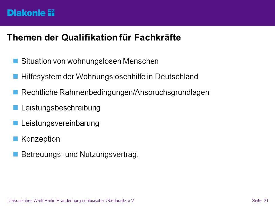 Diakonisches Werk Berlin-Brandenburg-schlesische Oberlausitz e.V.Seite 21 Themen der Qualifikation für Fachkräfte Situation von wohnungslosen Menschen