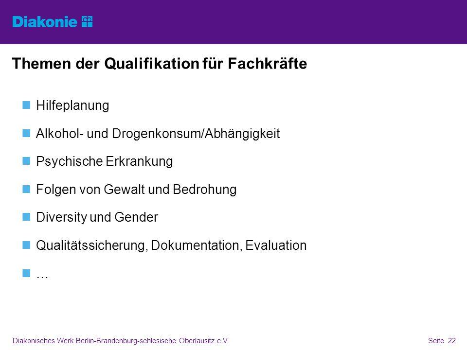 Diakonisches Werk Berlin-Brandenburg-schlesische Oberlausitz e.V.Seite 22 Themen der Qualifikation für Fachkräfte Hilfeplanung Alkohol- und Drogenkons