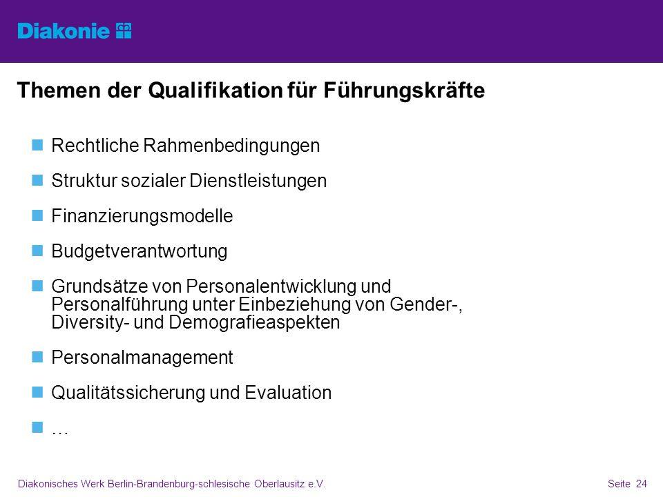 Diakonisches Werk Berlin-Brandenburg-schlesische Oberlausitz e.V.Seite 24 Themen der Qualifikation für Führungskräfte Rechtliche Rahmenbedingungen Str