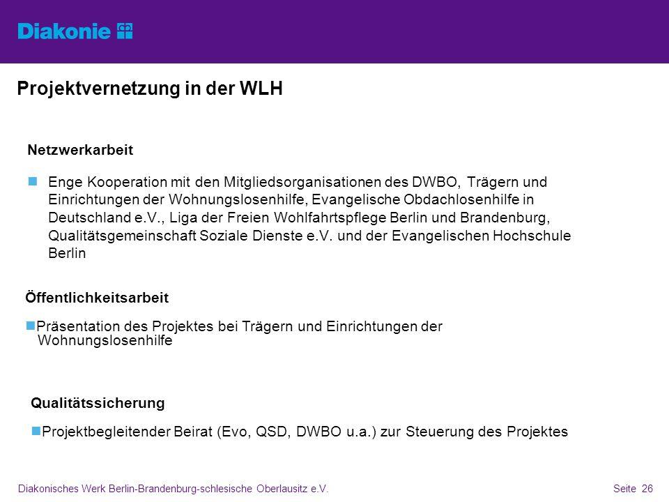 Diakonisches Werk Berlin-Brandenburg-schlesische Oberlausitz e.V.Seite 26 Projektvernetzung in der WLH Netzwerkarbeit Enge Kooperation mit den Mitglie