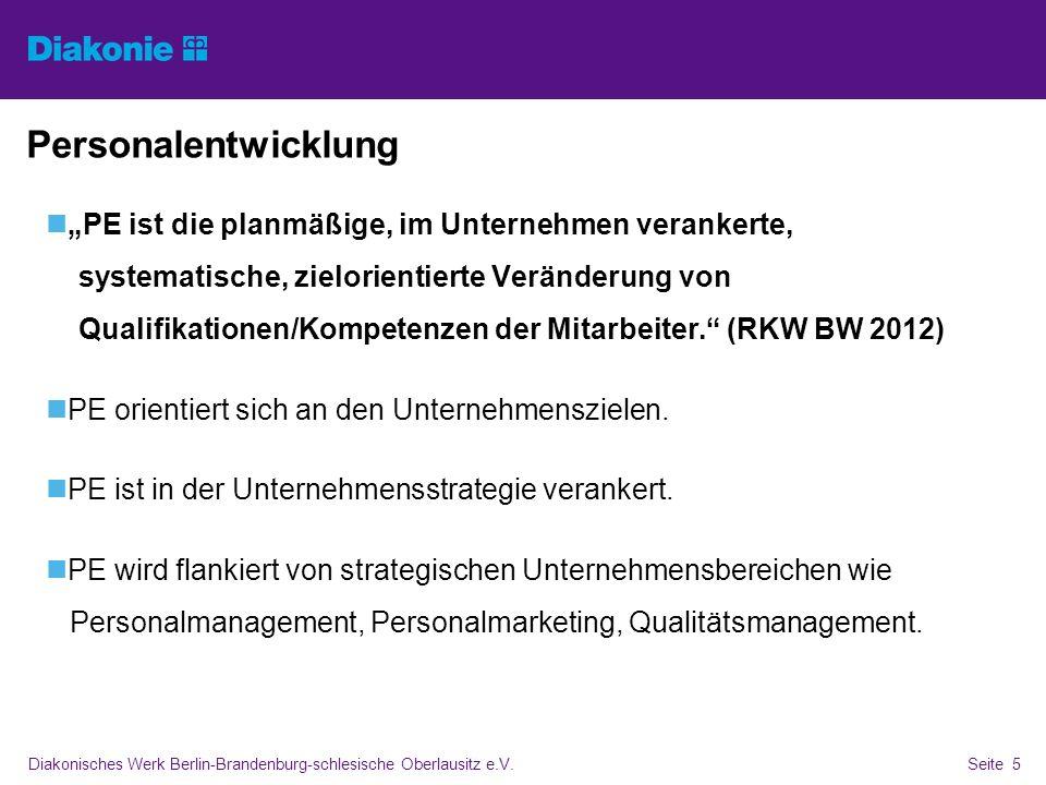 Diakonisches Werk Berlin-Brandenburg-schlesische Oberlausitz e.V.Seite 5 Personalentwicklung PE ist die planmäßige, im Unternehmen verankerte, systema
