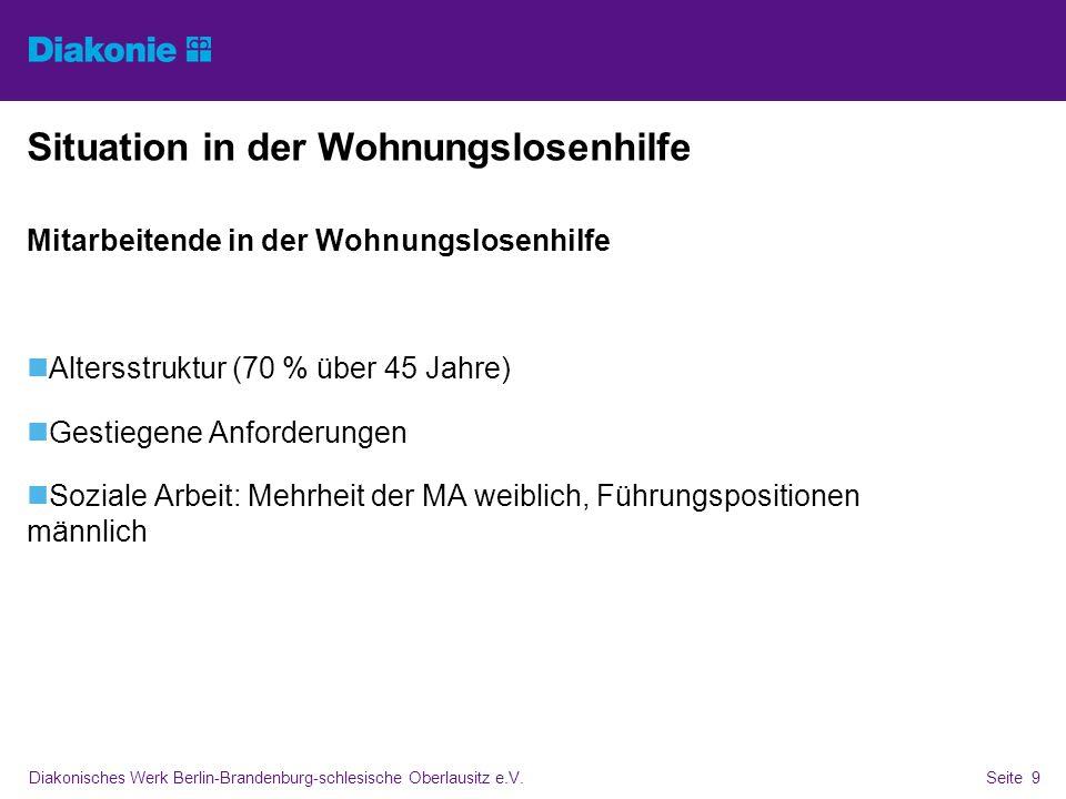 Diakonisches Werk Berlin-Brandenburg-schlesische Oberlausitz e.V.Seite 9 Situation in der Wohnungslosenhilfe Mitarbeitende in der Wohnungslosenhilfe A