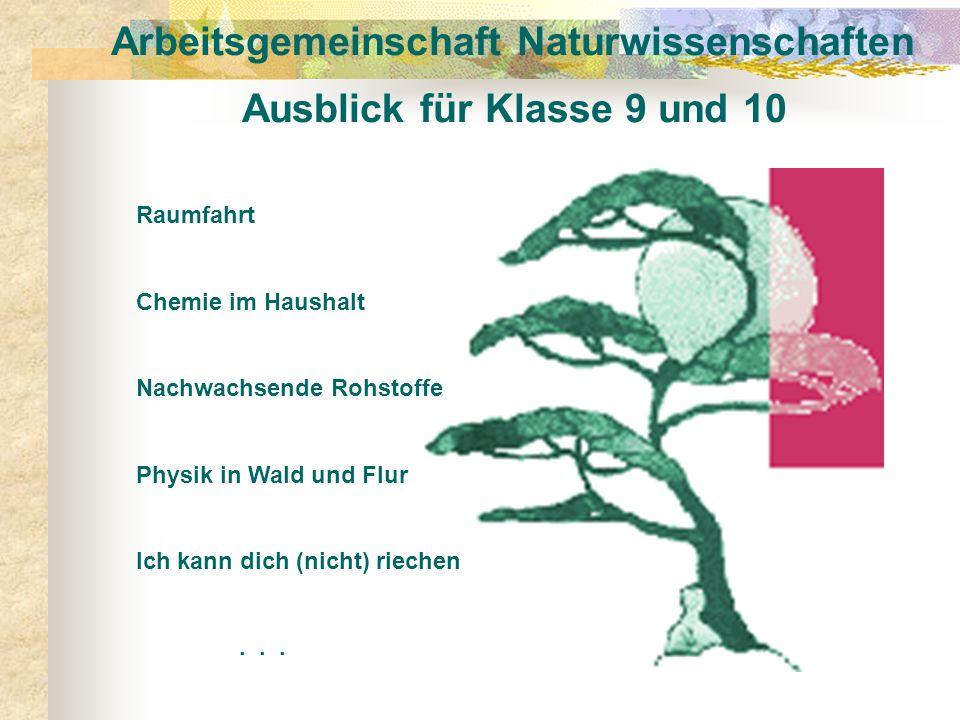 Arbeitsgemeinschaft Naturwissenschaften Ausblick für Klasse 9 und 10 Raumfahrt Chemie im Haushalt Nachwachsende Rohstoffe Physik in Wald und Flur Ich
