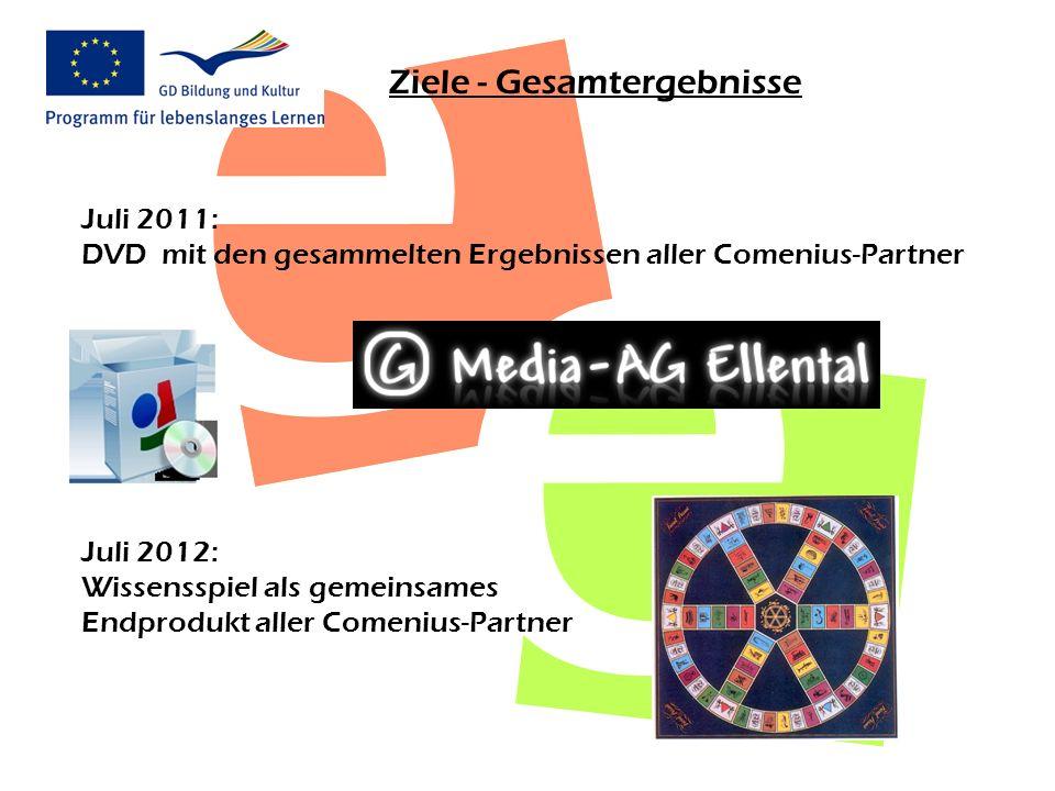 Ziele - Gesamtergebnisse Juli 2011: DVD mit den gesammelten Ergebnissen aller Comenius-Partner Juli 2012: Wissensspiel als gemeinsames Endprodukt alle