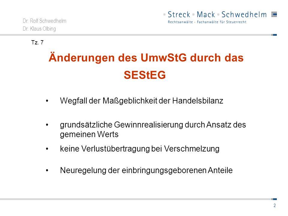 Dr. Rolf Schwedhelm Dr. Klaus Olbing 2 Änderungen des UmwStG durch das SEStEG Wegfall der Maßgeblichkeit der Handelsbilanz grundsätzliche Gewinnrealis