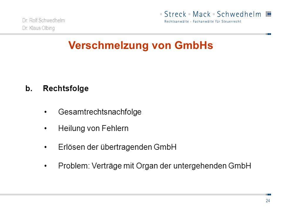 Dr. Rolf Schwedhelm Dr. Klaus Olbing 24 Verschmelzung von GmbHs b.Rechtsfolge Gesamtrechtsnachfolge Heilung von Fehlern Erlösen der übertragenden GmbH