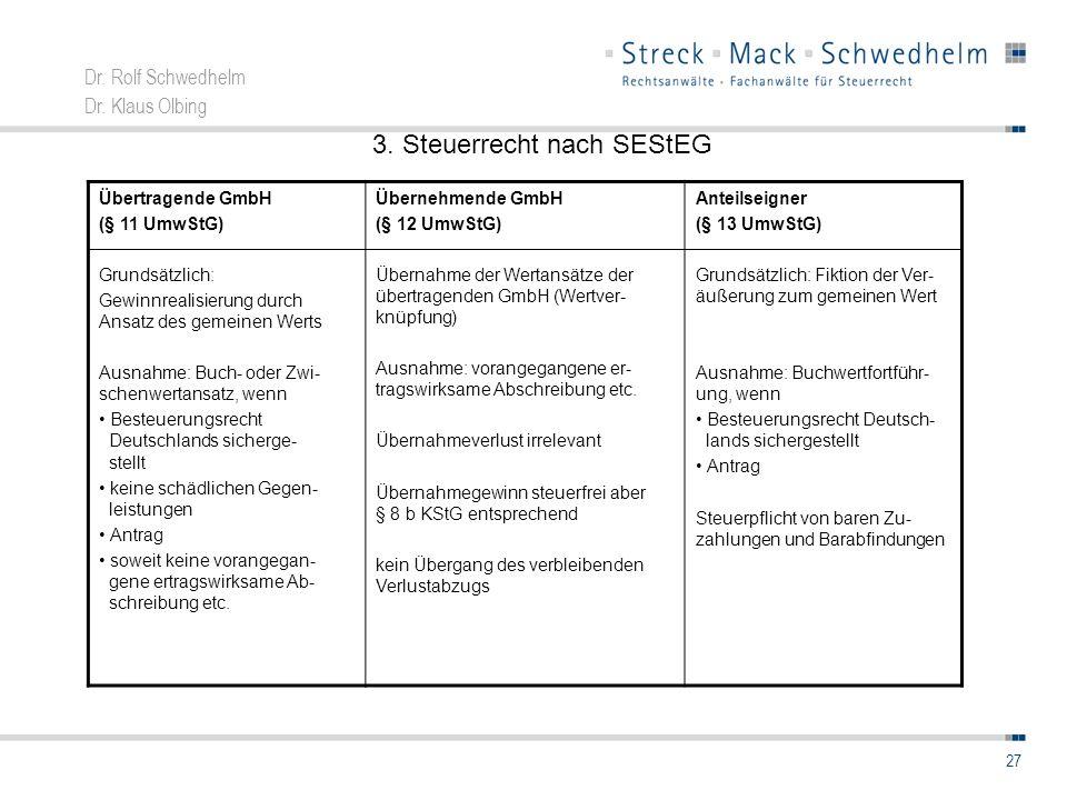 Dr. Rolf Schwedhelm Dr. Klaus Olbing 27 Übertragende GmbH (§ 11 UmwStG) Grundsätzlich: Gewinnrealisierung durch Ansatz des gemeinen Werts Ausnahme: Bu