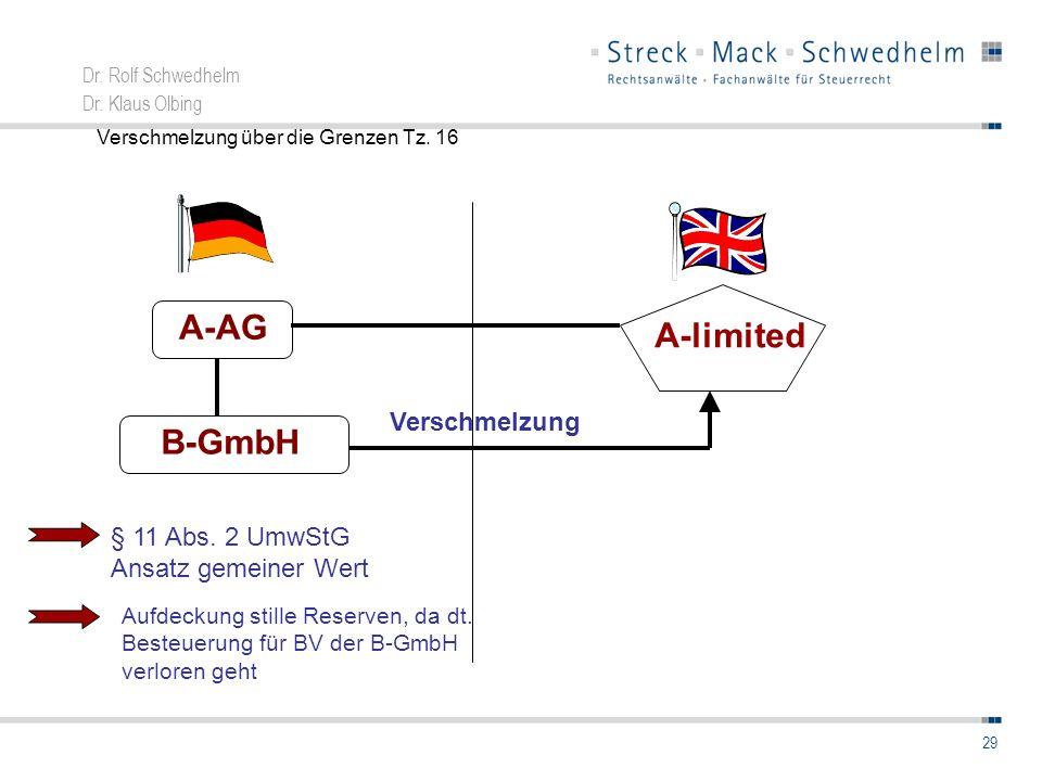 Dr. Rolf Schwedhelm Dr. Klaus Olbing 29 A-AG B-GmbH A-limited § 11 Abs. 2 UmwStG Ansatz gemeiner Wert Aufdeckung stille Reserven, da dt. Besteuerung f