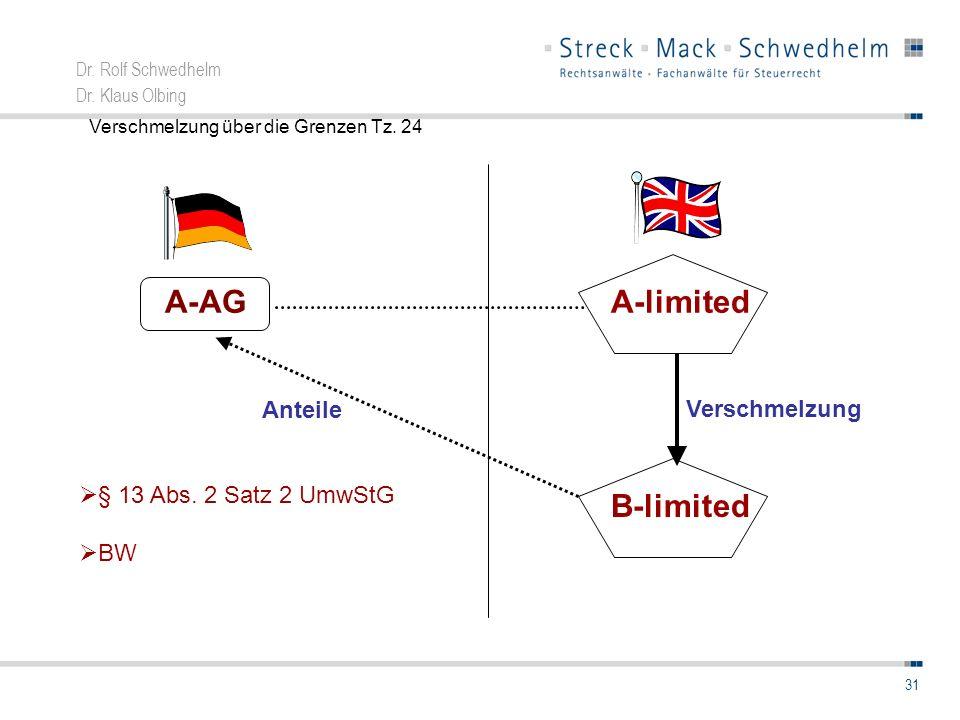Dr. Rolf Schwedhelm Dr. Klaus Olbing 31 A-limited B-limited Verschmelzung A-AG Anteile § 13 Abs. 2 Satz 2 UmwStG BW Verschmelzung über die Grenzen Tz.