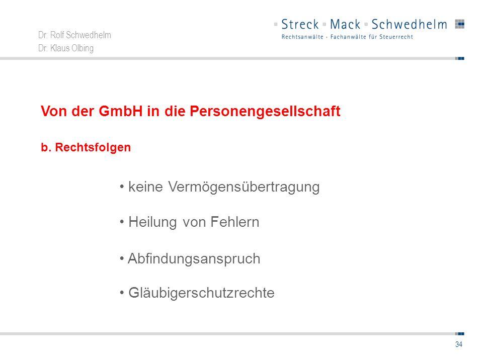 Dr. Rolf Schwedhelm Dr. Klaus Olbing 34 Von der GmbH in die Personengesellschaft keine Vermögensübertragung Heilung von Fehlern Abfindungsanspruch Glä