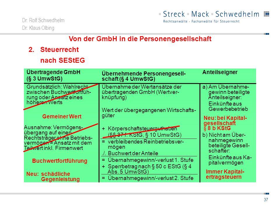 Dr. Rolf Schwedhelm Dr. Klaus Olbing 37 Von der GmbH in die Personengesellschaft 2. Steuerrecht nach SEStEG a) Am Übernahme- gewinn beteiligte Anteils