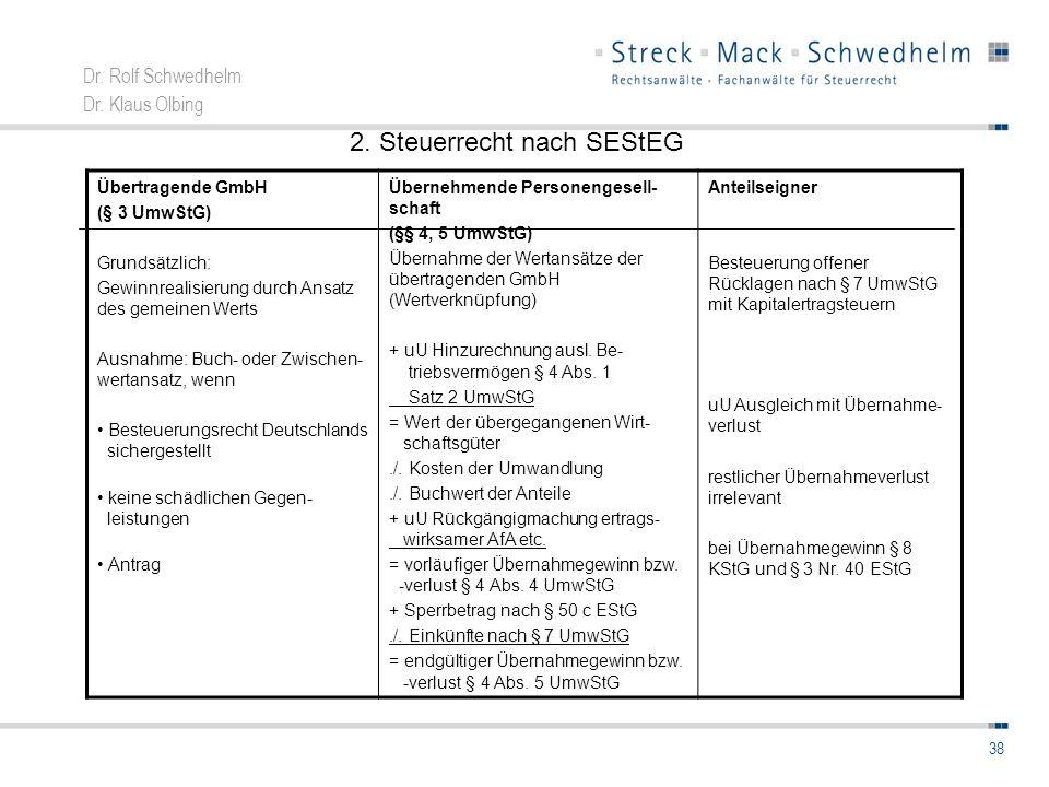 Dr. Rolf Schwedhelm Dr. Klaus Olbing 38 Übertragende GmbH (§ 3 UmwStG) Grundsätzlich: Gewinnrealisierung durch Ansatz des gemeinen Werts Ausnahme: Buc