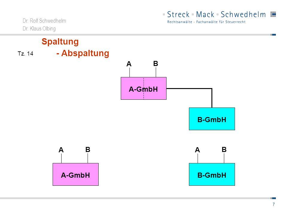 Dr. Rolf Schwedhelm Dr. Klaus Olbing 7 A-GmbH B A B-GmbH B A Spaltung - Abspaltung A-GmbH B A Tz. 14