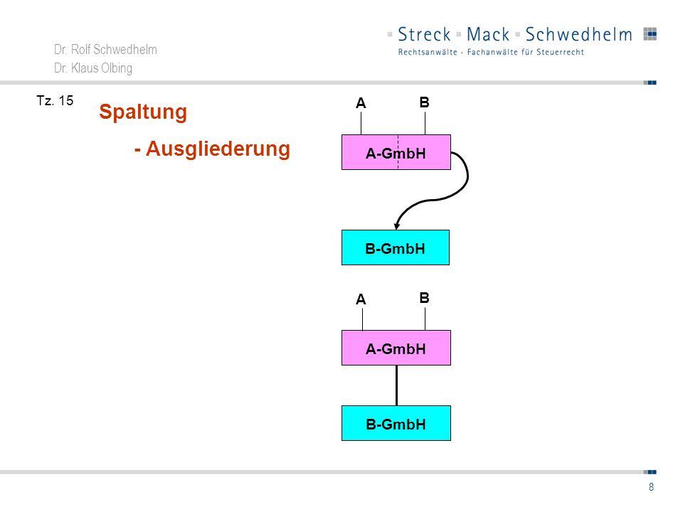 Dr. Rolf Schwedhelm Dr. Klaus Olbing 8 Spaltung - Ausgliederung A-GmbH B A B-GmbH A-GmbH B A B-GmbH Tz. 15