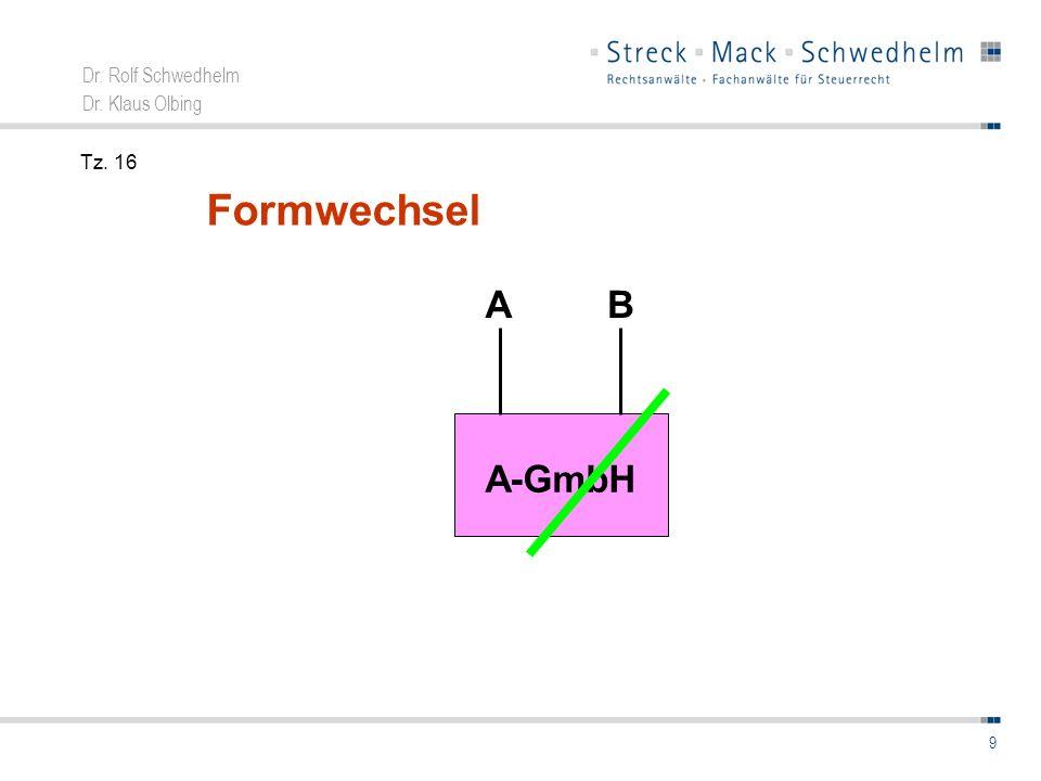 Dr. Rolf Schwedhelm Dr. Klaus Olbing 10 Formwechsel A – AG A B