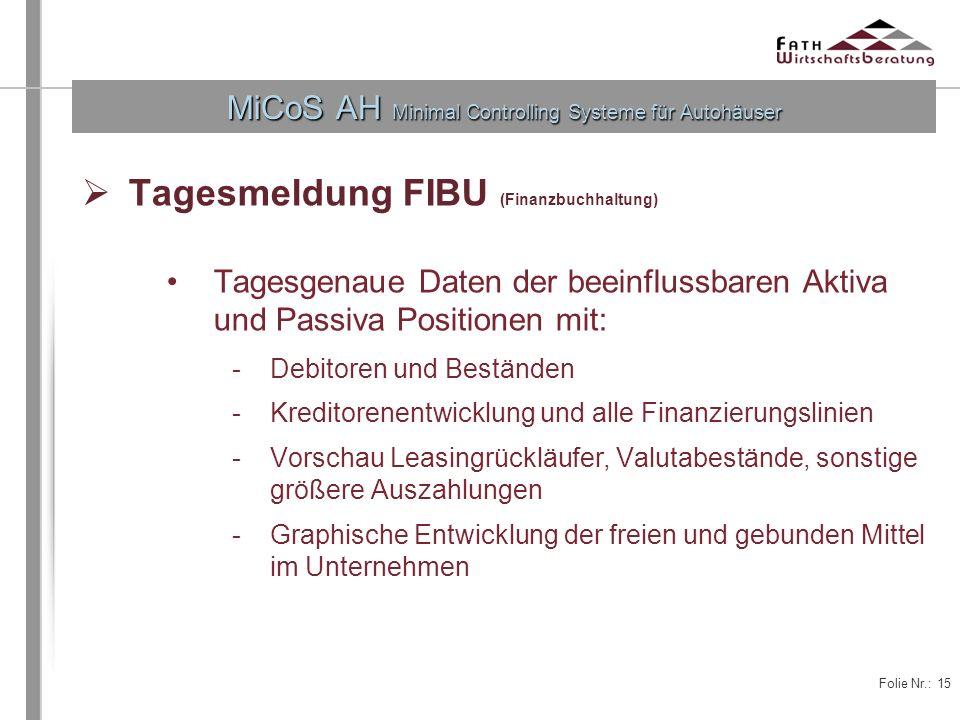 Folie Nr.: 15 MiCoS AH Minimal Controlling Systeme für Autohäuser Tagesmeldung FIBU (Finanzbuchhaltung) Tagesgenaue Daten der beeinflussbaren Aktiva u