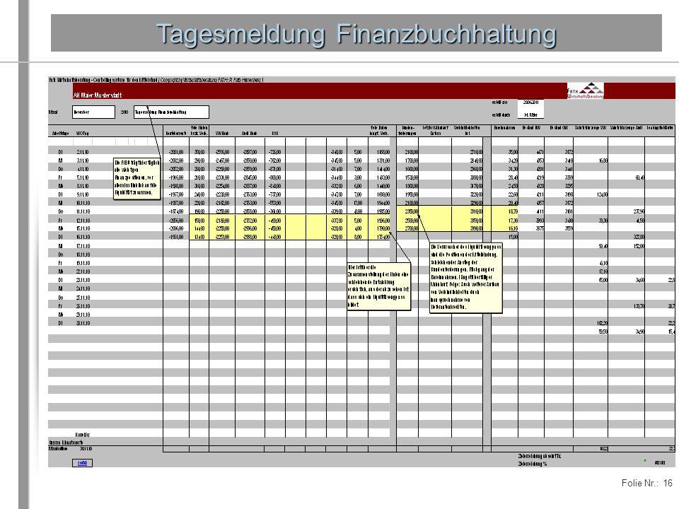 Folie Nr.: 16 Tagesmeldung Finanzbuchhaltung
