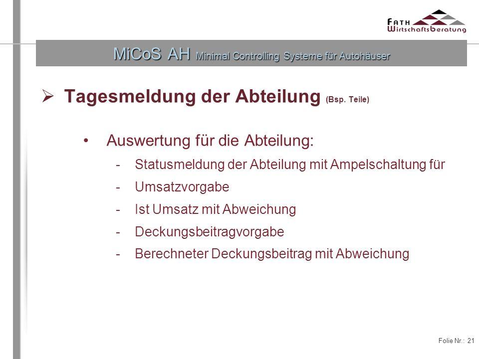 Folie Nr.: 21 MiCoS AH Minimal Controlling Systeme für Autohäuser Tagesmeldung der Abteilung (Bsp. Teile) Auswertung für die Abteilung: -Statusmeldung