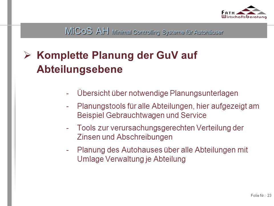 Folie Nr.: 23 MiCoS AH Minimal Controlling Systeme für Autohäuser Komplette Planung der GuV auf Abteilungsebene -Übersicht über notwendige Planungsunt