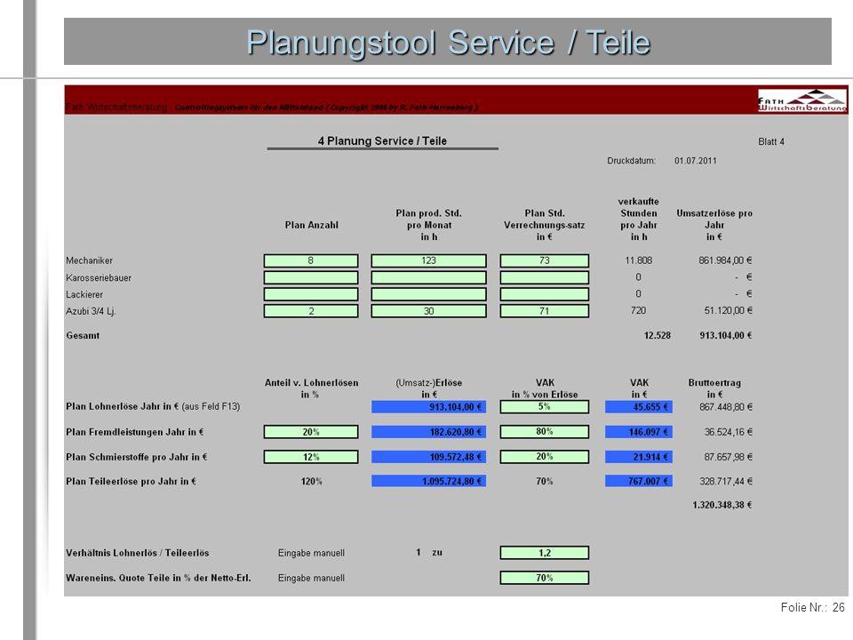 Folie Nr.: 26 Planungstool Service / Teile