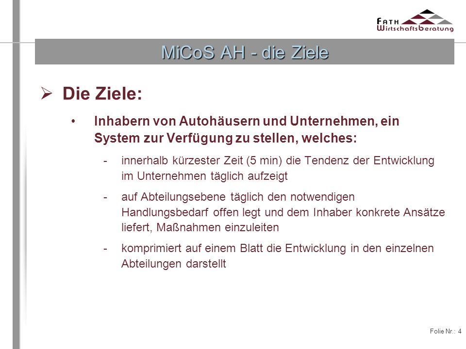 Folie Nr.: 4 Die Ziele: Inhabern von Autohäusern und Unternehmen, ein System zur Verfügung zu stellen, welches: -innerhalb kürzester Zeit (5 min) die