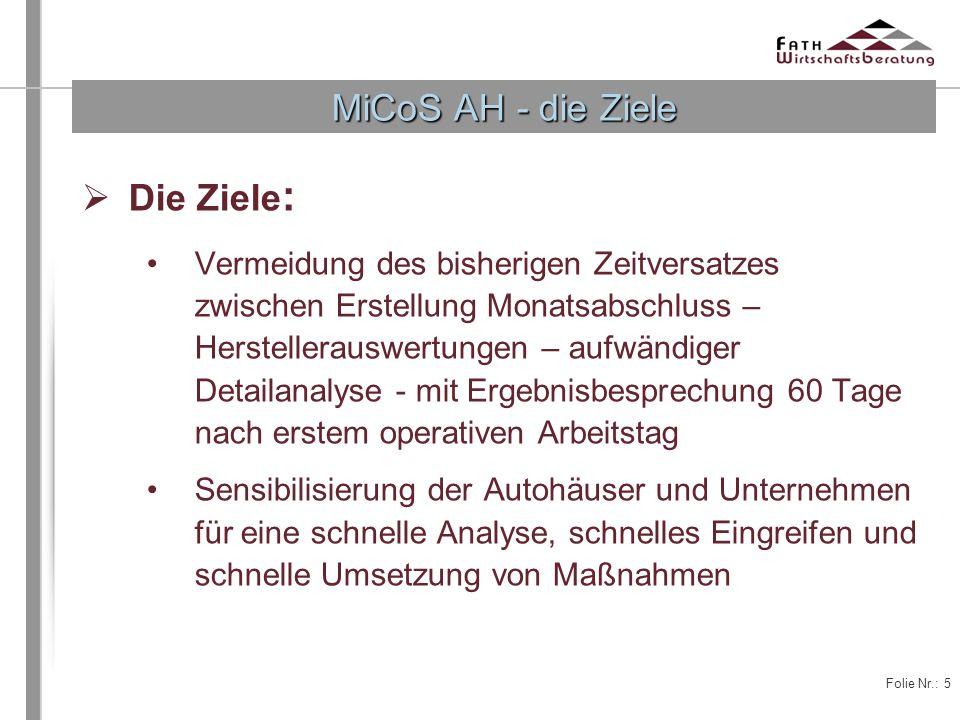 Folie Nr.: 5 Die Ziele : Vermeidung des bisherigen Zeitversatzes zwischen Erstellung Monatsabschluss – Herstellerauswertungen – aufwändiger Detailanal