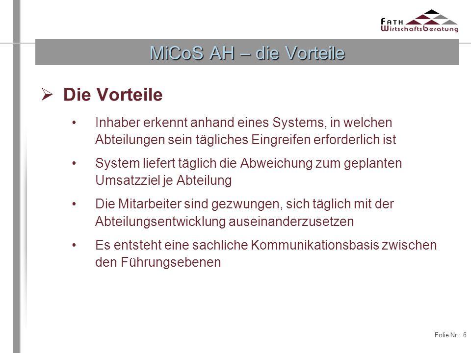 Folie Nr.: 6 Die Vorteile Inhaber erkennt anhand eines Systems, in welchen Abteilungen sein tägliches Eingreifen erforderlich ist System liefert tägli