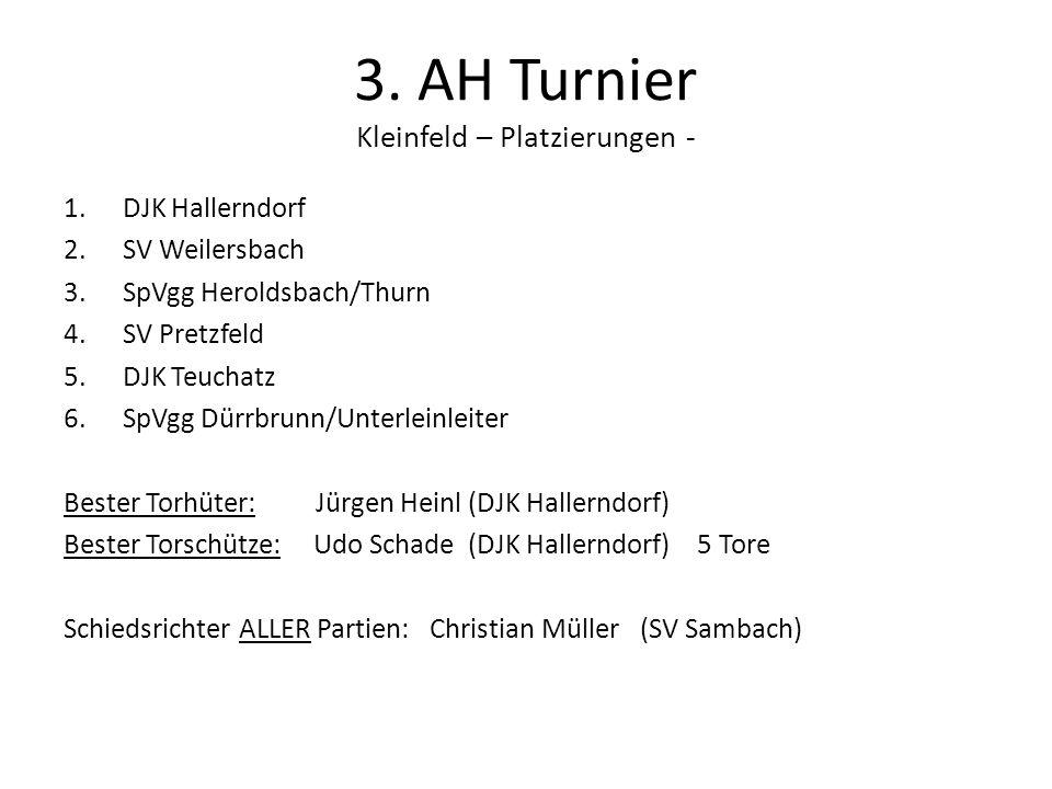 3. AH Turnier Kleinfeld – Platzierungen - 1.DJK Hallerndorf 2.SV Weilersbach 3.SpVgg Heroldsbach/Thurn 4.SV Pretzfeld 5.DJK Teuchatz 6.SpVgg Dürrbrunn