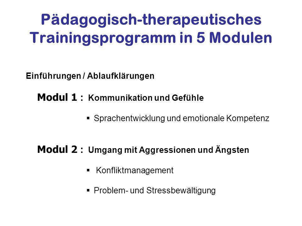 Pädagogisch-therapeutisches Trainingsprogramm in 5 Modulen Einführungen / Ablaufklärungen Modul 1 : Kommunikation und Gefühle Sprachentwicklung und em