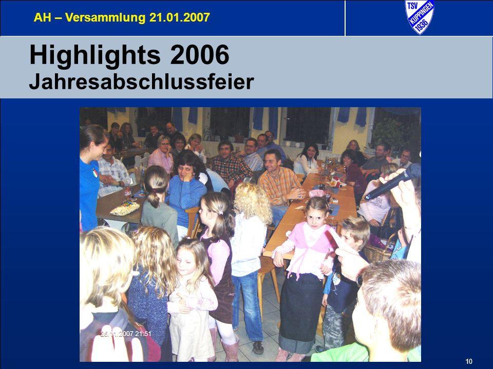 10 Highlights 2006 Jahresabschlussfeier AH – Versammlung 21.01.2007