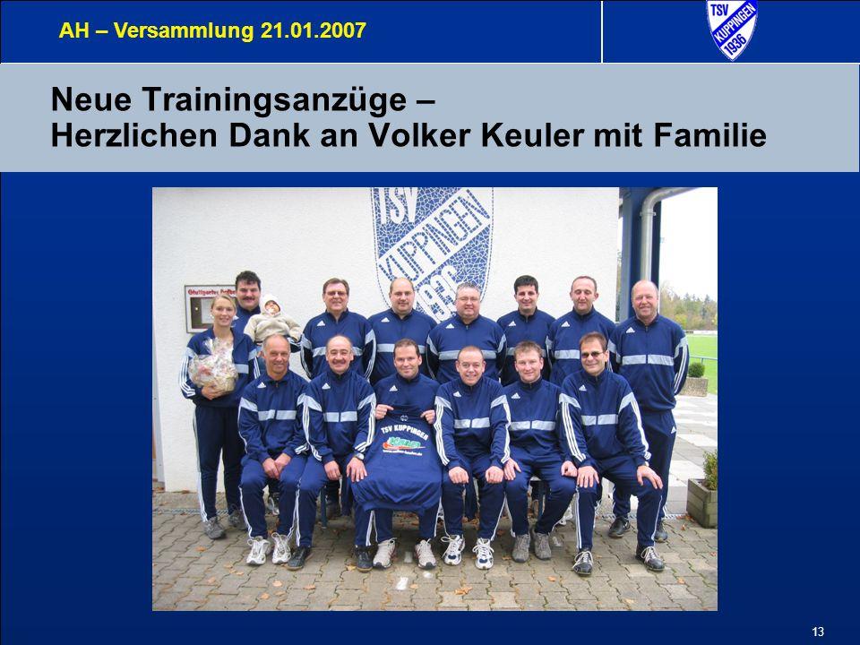 13 Neue Trainingsanzüge – Herzlichen Dank an Volker Keuler mit Familie AH – Versammlung 21.01.2007