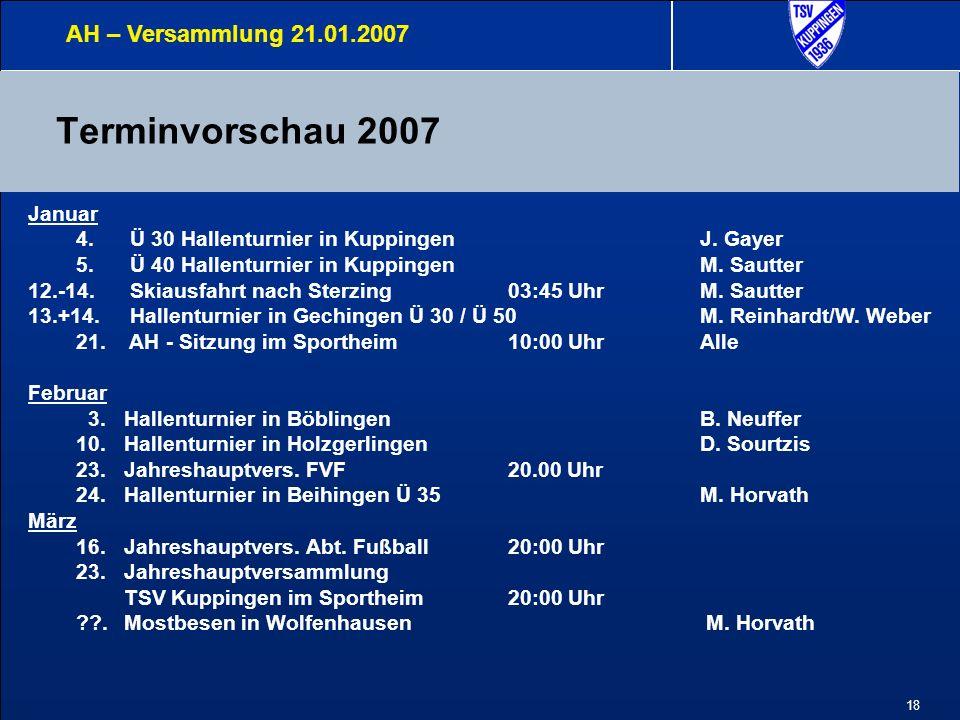 18 Terminvorschau 2007 AH – Versammlung 21.01.2007 Januar 4.