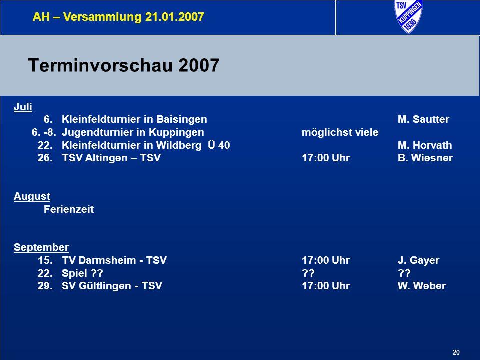 20 Terminvorschau 2007 AH – Versammlung 21.01.2007 Juli 6.Kleinfeldturnier in BaisingenM.