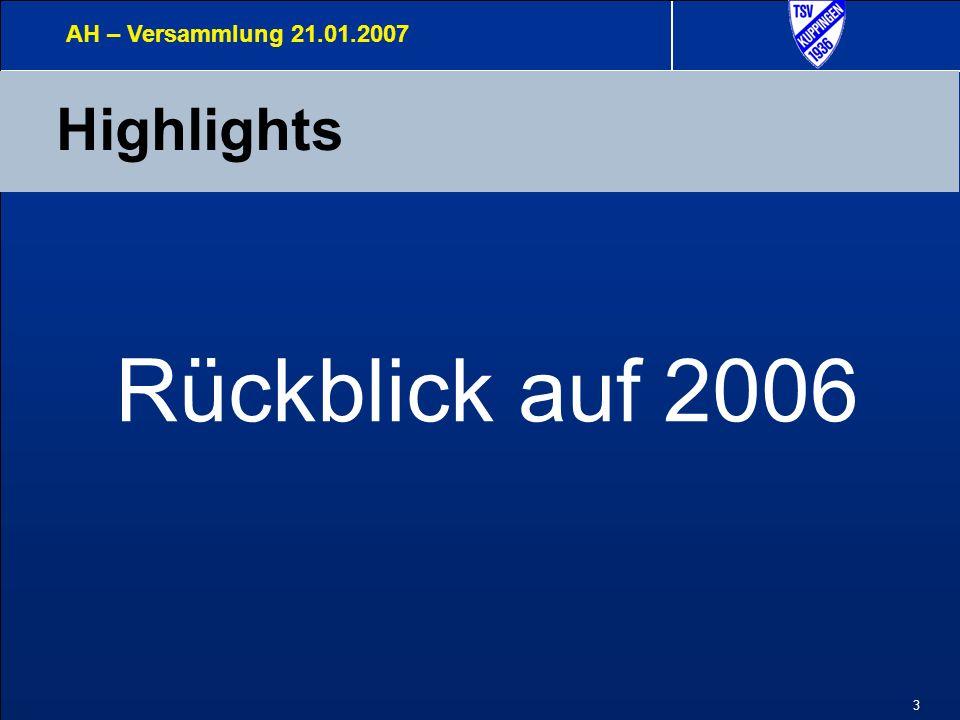 4 Highlights 2006 Pfingsten Nord- Süd AH – Versammlung 21.01.2007