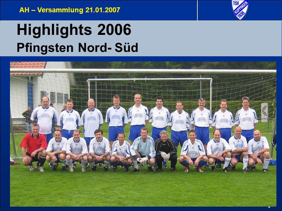 5 Highlights 2006 Pfingsten Derby AH – Versammlung 21.01.2007 Nord – Süd Derby Das Spiel endete mit einem überaus glücklichen