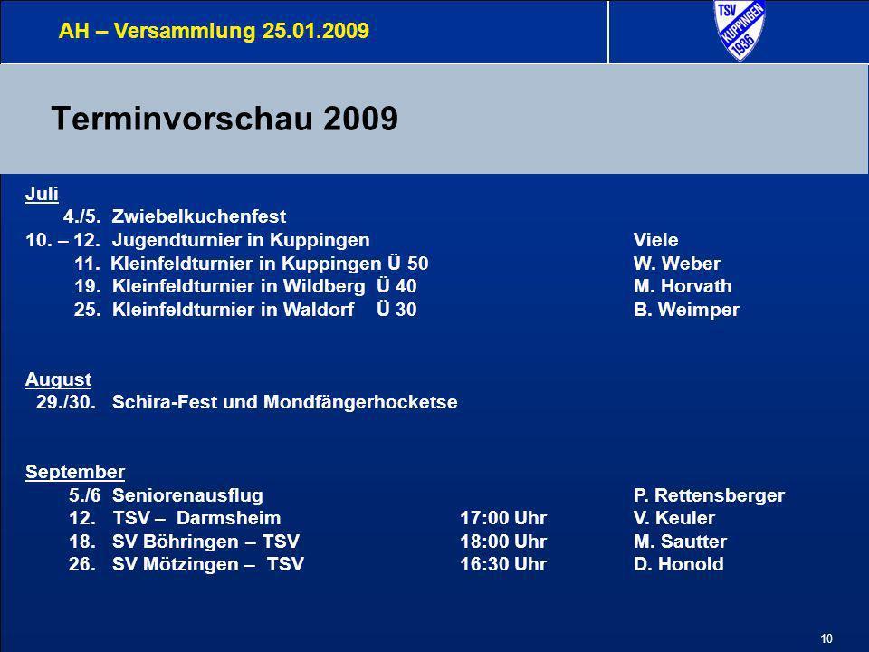11 Terminvorschau 2009 AH – Versammlung 25.01.2009 Oktober 10.Mondfängerlauf19:00Uhr 17.TSV - ??.